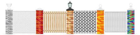 Vecteur de poteaux de clôture en brique isolé. Piliers vectoriels en briques de différentes couleurs avec une conception de tête supérieure variée. Clôture grillagée, clôture en bois, fer forgé et panneau en vinyle blanc massif. Lampe de jardin noire.