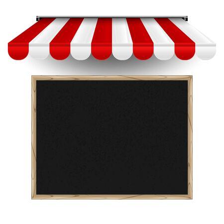 Ristorante, modello orizzontale della scheda del menu del caffè. Lavagna vettoriale realistica e tenda da sole 3d a strisce. Elementi di design per pizzeria, bistrot o ristorante.