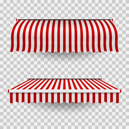Set of commercial vector awnings. Market, cafe, or restaurant desing elements. Red and white striped awning isolated on transparent background.