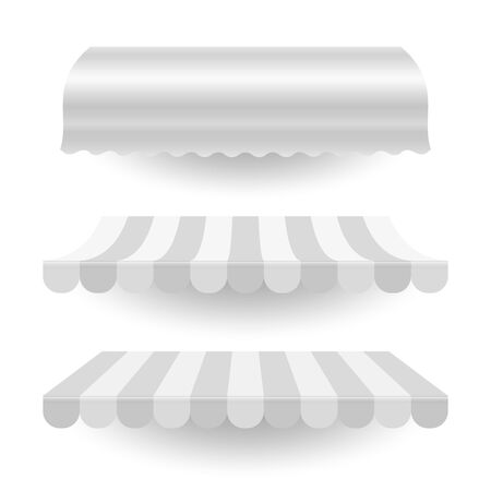 White empty commercial vector awning. Market, cafe, or restaurant desing element. Striped and pure white awnings isolated on white background.