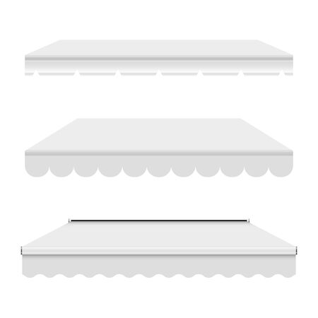 White empty commercial vector awning. Market, cafe, or restaurant desing element. Three different pure white awnings isolated on white background.