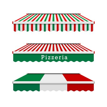 Pizzeria awnings. Italian food design elements in the colors of the italian flag. Vector illustration.