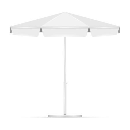 White empty beach umbrella commercial vector awning. Market, cafe, or restaurant desing element. Blank round market tent canopy mock up isolated on white background.
