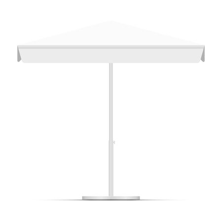 White empty beach umbrella commercial vector awning. Market, cafe, or restaurant desing element. Blank square market tent canopy mock up isolated on white background.