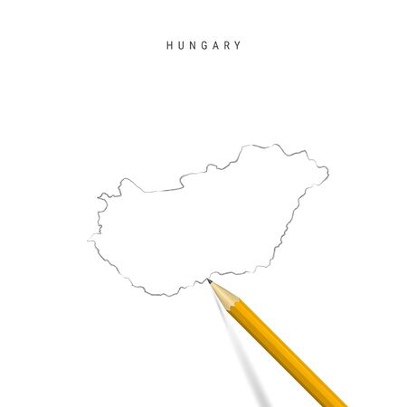 Hungary freehand pencil sketch outline map isolated on white background. Empty hand drawn vector map of Hungary. Realistic 3D pencil with soft shadow. Illusztráció