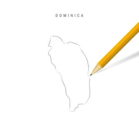 Dominica freehand pencil sketch outline map isolated on white background. Empty hand drawn vector map of Dominica. Realistic 3D pencil with soft shadow.