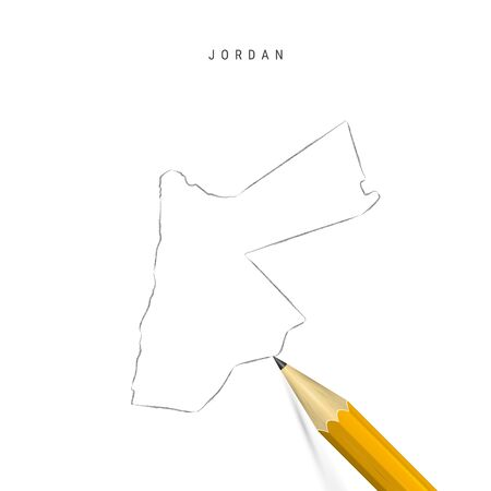 Jordan freehand pencil sketch outline map isolated on white background. Empty hand drawn vector map of Jordan. Realistic 3D pencil with soft shadow. Illustration