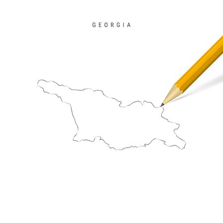 Georgia freehand pencil sketch outline map isolated on white background. Empty hand drawn vector map of Georgia. Realistic 3D pencil with soft shadow.