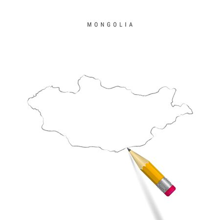 Mongolia freehand pencil sketch outline map isolated on white background. Empty hand drawn vector map of Mongolia. Realistic 3D pencil with soft shadow.