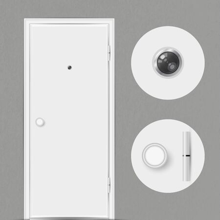 White closed door with a peephole isolated on grey background. Peephole, door handle and door hinge close-up. Vector illustration.