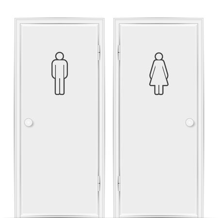 Realistic empty white toilet doors for male and female genders isolated on white background.