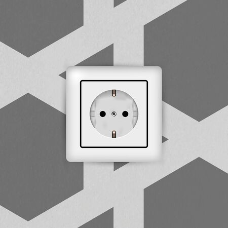 Electric socket. Type F. 3D Realistic vector illustration. Empty white electrical outlet without plug. Textured vector wall with wallpaper.