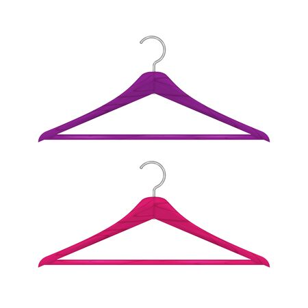 Realistic wooden clothes hanger set isolated on white. Saturated pink and purple hangers. Vector illustration.