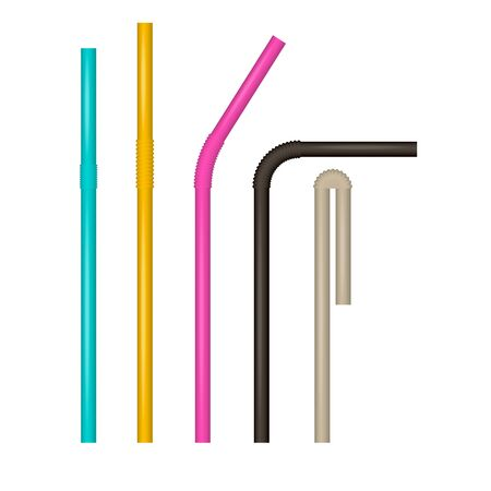 Multi-colored drinking straws. Vector realistic set. Various bends. Cocktail straw mock up. Ilustração