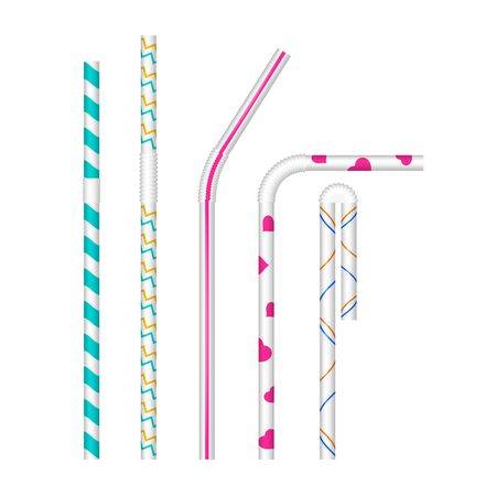White drinking straws with different patterns. Vector realistic set. Various bends. Cocktail straw mock up.