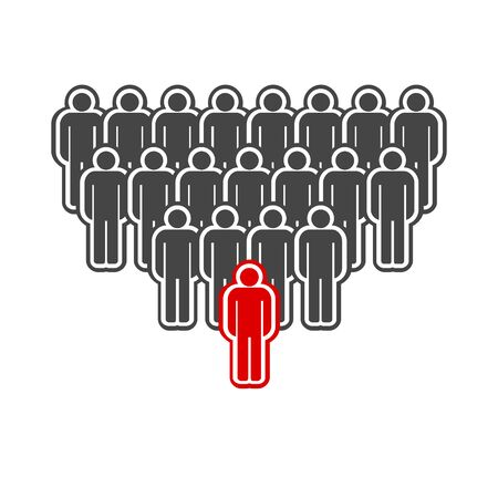 People group icon, the leader in front is highlighted in red.