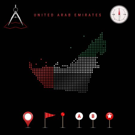 Dotted map of United Arab Emirates painted in the colors of the national flag of UAE. Waving flag effect. Map tools, set of cartographic icons. Vector illustration