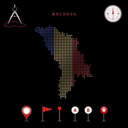 Dotted map of Moldova painted in the colors of the national flag of Moldova. Waving flag effect. Map tools, set of cartographic icons. Vector illustration