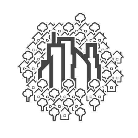 Big city and suburbs around it with gardens. Vector flat line icon. Monochrome illustration.  イラスト・ベクター素材