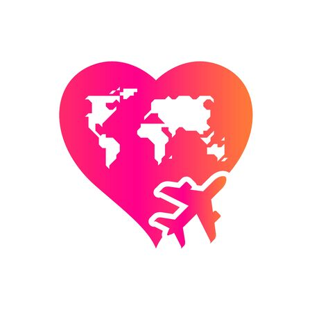 Around the world with love concept, t-shirt print. Colored vector illustration. Aircraft emblem.