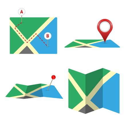 Map icon vector set isolated on white.