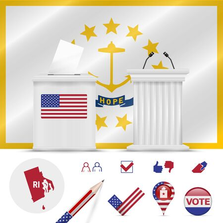 Presidential elections in Rhode Island. Vector waving flag, realistic ballot box, public speaker's podium, silhouette map and voting icon set.