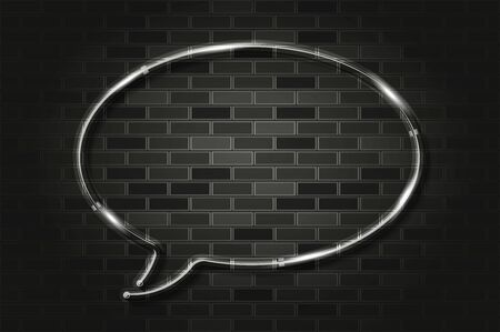 Round speech bubble glows with white light or LED strip light. Realistic vector illustration. Black brick wall, soft shadow, metal holders.