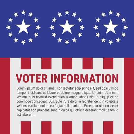 Voter information stand design. Stars and stripes background. The US presidential election 2020. American flag colors. Vector illustration.