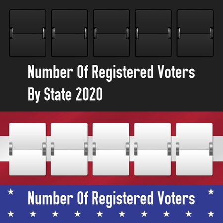 Mechanical counter. Number of registered voters by state. The US presidential election 2020. American flag colors. Vector illustration.
