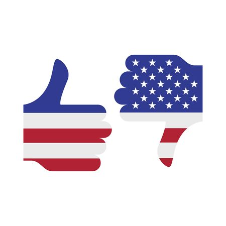 Voting for and against. Thumb up and down. The US presidential election 2020. American flag colors. Vector illustration. Vektoros illusztráció