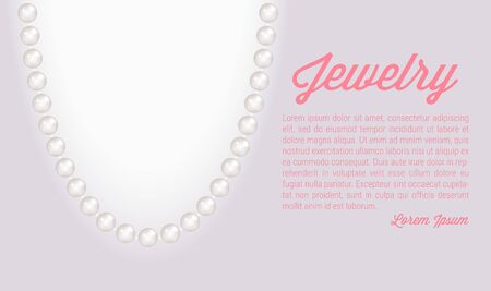 Pearl necklace. Realistic jewelry background. Elliptic frame. Vector illustration.