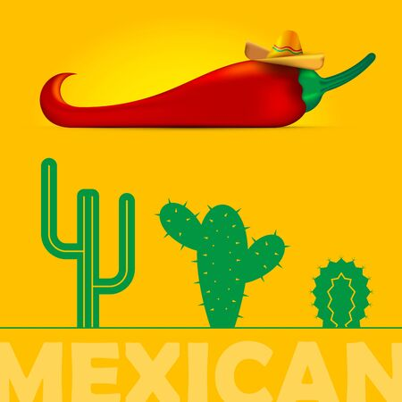 Red pepper, sombrero and cacti. Symbols of Mexico, vector set. Yellow mexican background.
