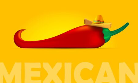 Big red pepper and mexican hat, sombrero. Symbols of Mexico, vector.