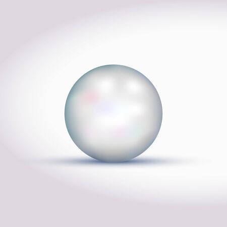 Big white pearl with shadow. Shiny oyster pearl, sphere shiny sea pearl. Realistic jewelry object. Realistic jewelry object. Vector illustration.