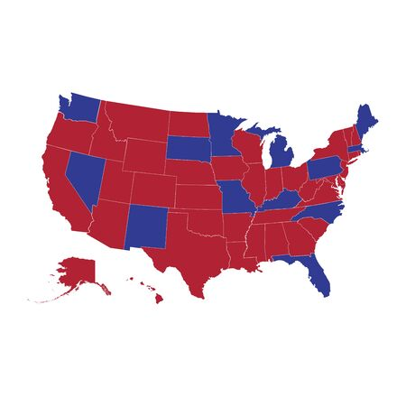 Red and blue US states. United States vector map, map of the USA, all states separately. Who votes for the Republican Party, and who for the Democratic. 向量圖像