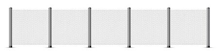 Chain link fence. Metal wire. Wire grid with metal poles. Vector illustration.