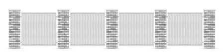 White brick poles fence with white wooden boards. Realistic vector illustration.