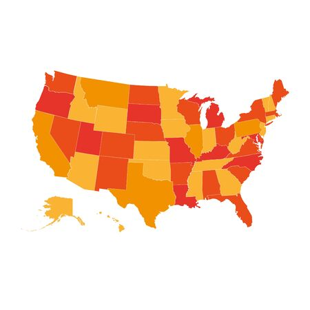 United States vector map, USA map in orange color palette, all states are separately.
