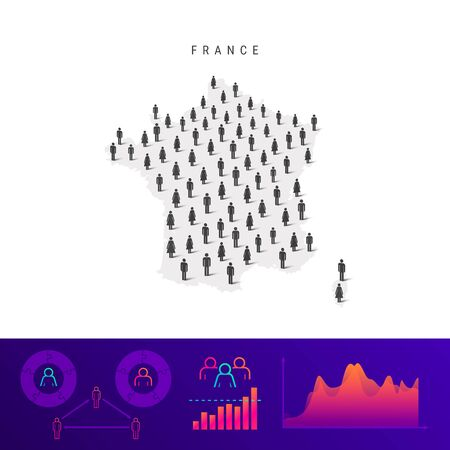 French people icon map. Detailed vector silhouette. Mixed crowd of men and women. Population infographics. Isolated vector illustration. Vectores