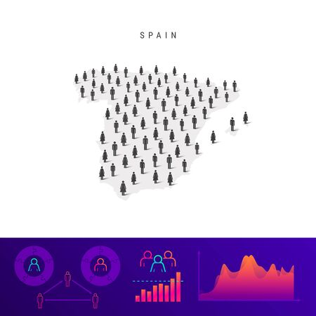Spanish people icon map. Detailed vector silhouette. Mixed crowd of men and women. Population infographics. Isolated vector illustration.