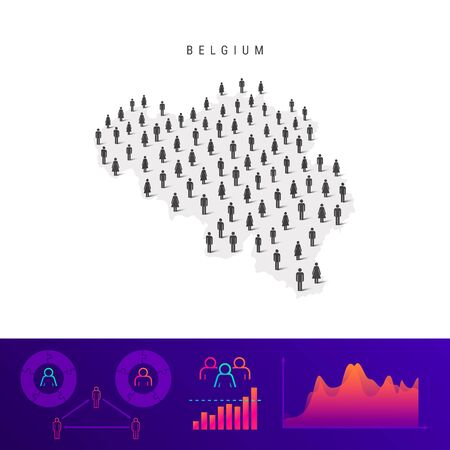 Belgian people icon map. Detailed vector silhouette. Mixed crowd of men and women. Population infographics. Isolated vector illustration.