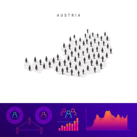 Austrian people icon map. Detailed vector silhouette. Mixed crowd of men and women. Population infographics. Isolated vector illustration.