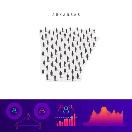 Arkansas people map. Detailed vector silhouette. Mixed crowd of men and women icons. Population infographic elements. Vector illustration isolated on white.