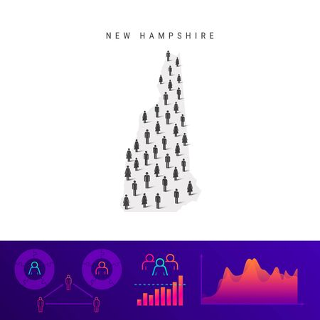 New Hampshire people map. Detailed vector silhouette. Mixed crowd of men and women icons. Population infographic elements. Vector illustration isolated on white.
