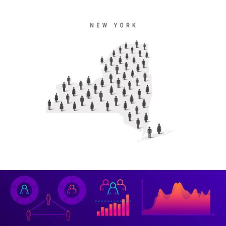 New York people map. Detailed vector silhouette. Mixed crowd of men and women icons. Population infographic elements. Vector illustration isolated on white.