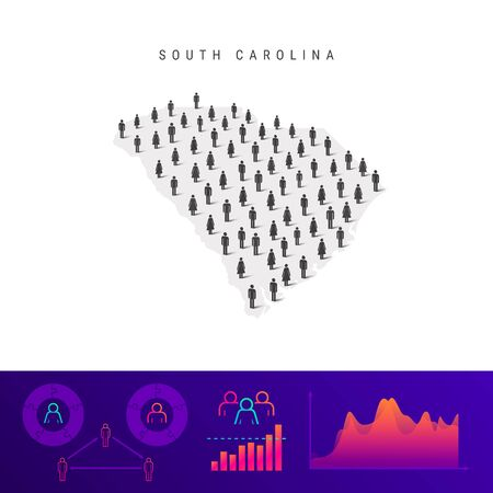 South Carolina people map. Detailed vector silhouette. Mixed crowd of men and women icons. Population infographic elements. Vector illustration isolated on white. Stock Illustratie