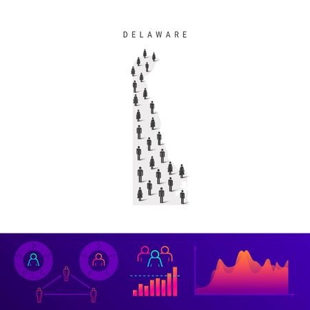 Delaware people map. Detailed vector silhouette. Mixed crowd of men and women icons. Population infographic elements. Vector illustration isolated on white.