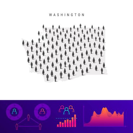 Washington people map. Detailed vector silhouette. Mixed crowd of men and women icons. Population infographic elements. Vector illustration isolated on white. Stock Illustratie