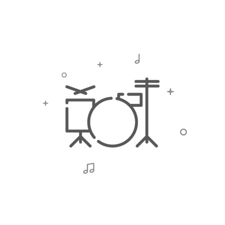 Drum kit simple vector line icon. Drummer symbol, pictogram, sign. Light background. Editable stroke. Adjust line weight.
