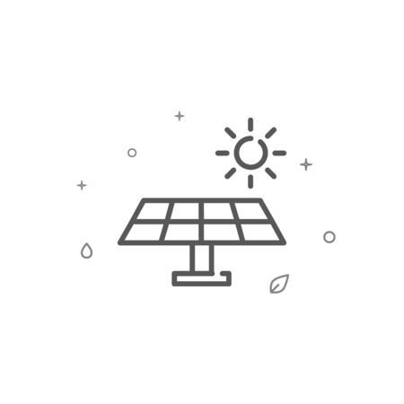 Solar panel simple vector line icon. Environment protection symbol, pictogram, sign. Light background. Editable stroke. Adjust line weight.
